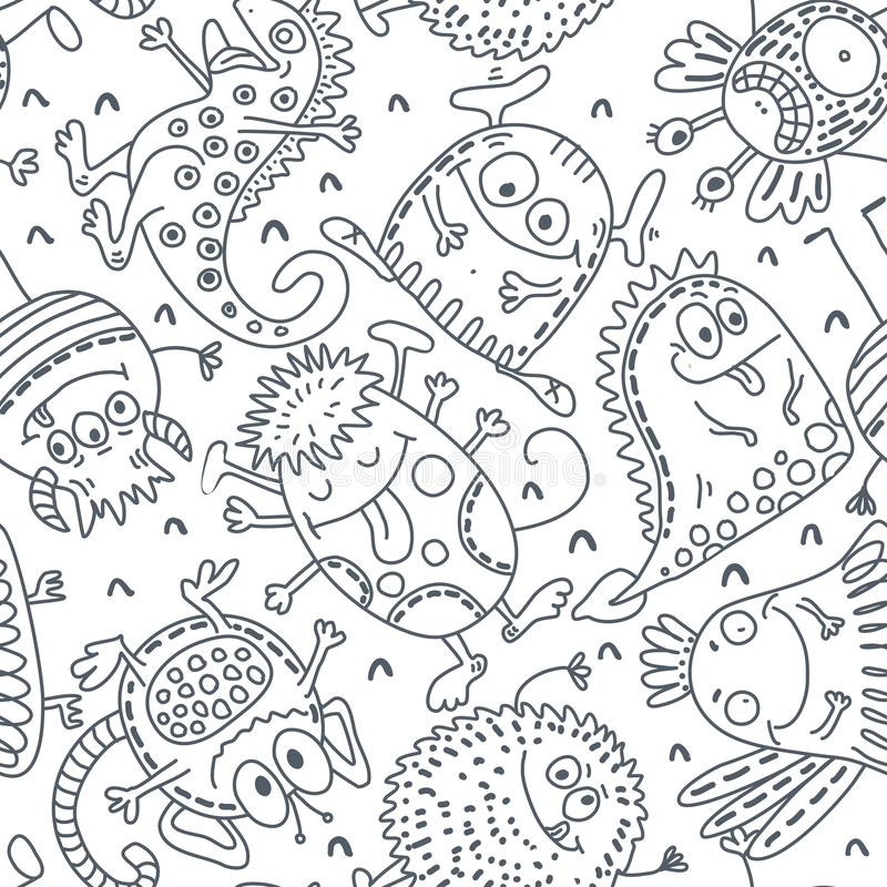 Black and white vector seamless pattern with funny monsters stock illustration