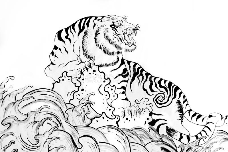 Black and white vector sketch of a growling tiger royalty free illustration