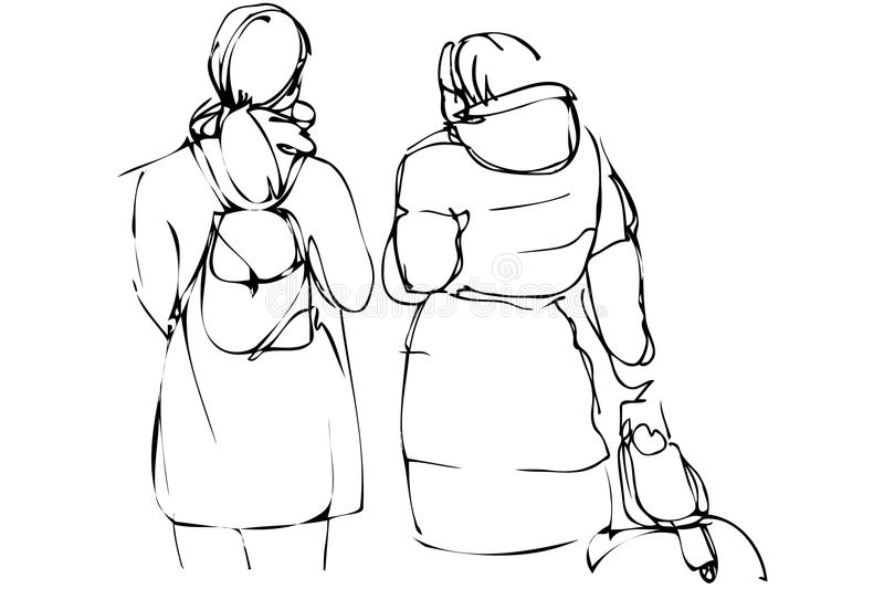 Vector sketch two girls with a backpack and suitcase royalty free illustration