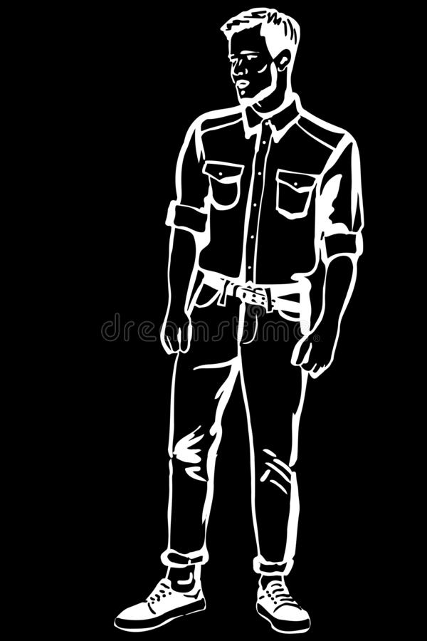 Vector sketch of a young man with a beard in moccasins royalty free illustration