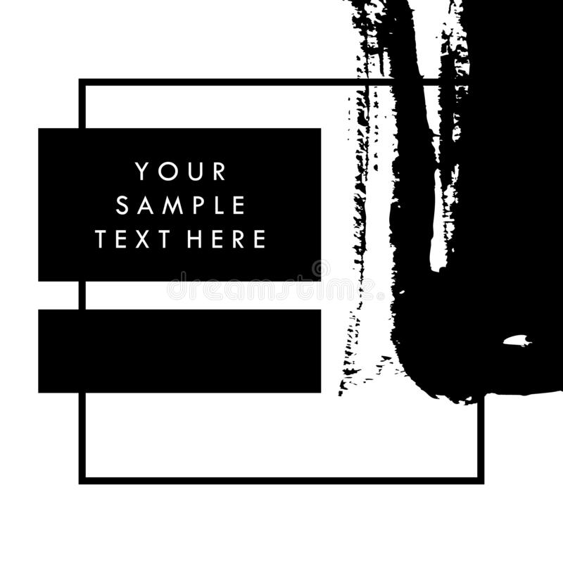 Black and white vector template background for presentation, for flyer and for banner, with paint brush strokes. Vector brush royalty free stock photography