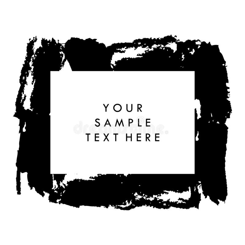 Black and white vector template background for presentation, for flyer and for banner, with paint brush strokes. Vector brush royalty free stock images