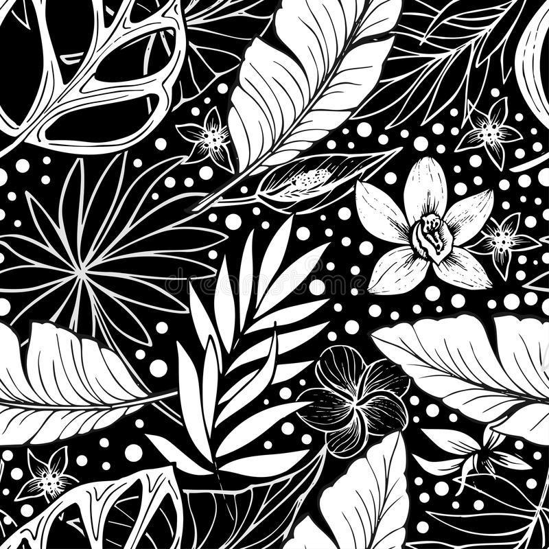 Black and white vector vector seamless beautiful artistic tropical pattern with tropical leaf, summer beach fun, black. Black and white vector seamless beautiful royalty free illustration