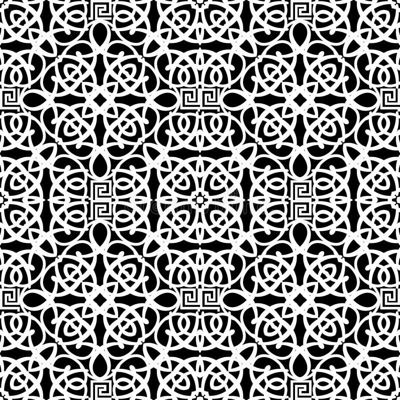 Black and white vector vintage seamless pattern 几何装饰性阿拉伯背景 Elegant tribal repeat 库存例证