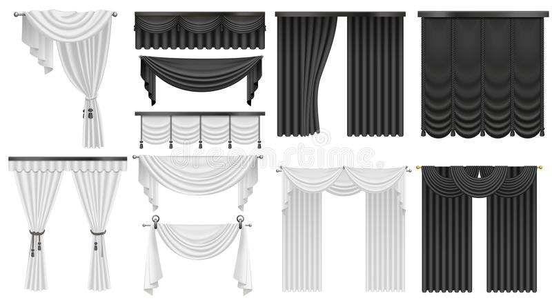 Black and white velvet silk curtains and draperies set. Interior realistic luxury curtains decoration design. vector illustration
