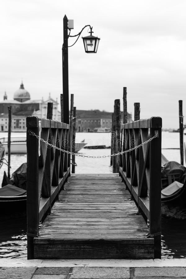 Black and White Venice Dock Bridge stock images