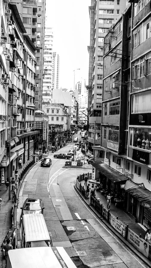 Black and white version of Hongkong, China stock photo