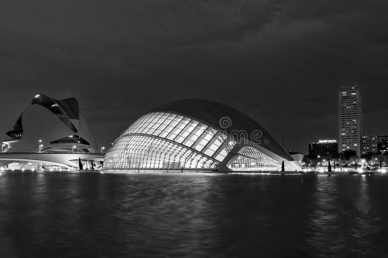 Black and white view of The City of arts and sciences, Valencia, Spain royalty free stock image