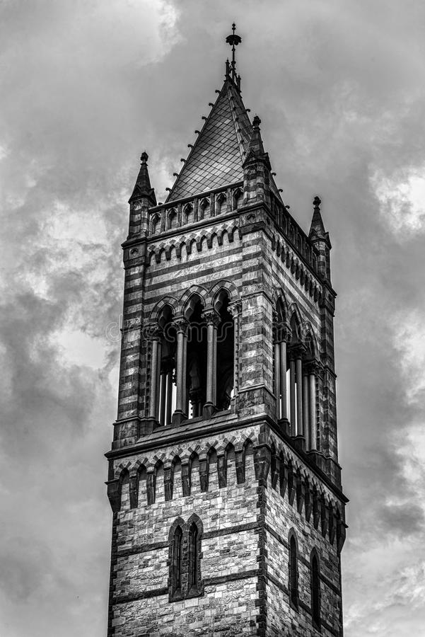 Black and white view of the First Covenant Church tower stock images