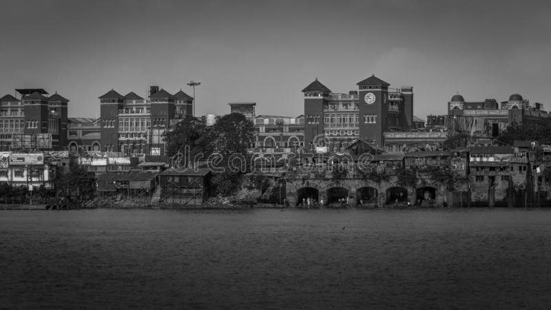 A black and White view of Howrah Station as viewed from Mallick Ghat royalty free stock image
