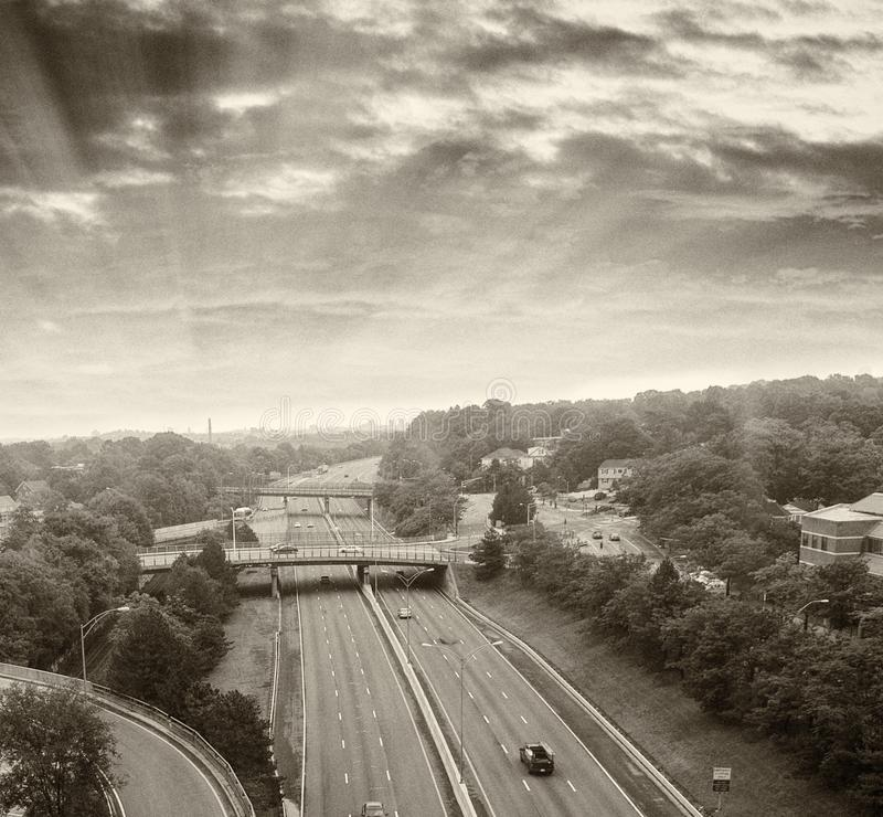 Black and white view of interstate traffic stock photos