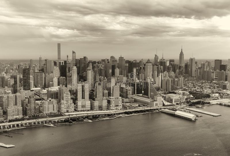 Black and white view of Manhattan skyscrapers, New York City - U royalty free stock photo