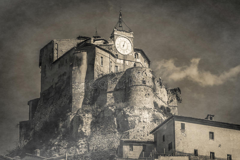 Black and white view of mystery castle in Subiaco stock photo