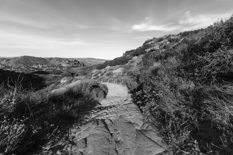 Black and White View of  Nature Path at Rocky Peak Park stock photos