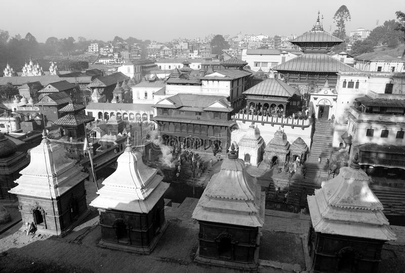 Black and white view of Pashupatinath. Hindu temple situated on the bank of holy Bagmati River in Kathmandu royalty free stock image
