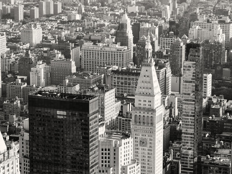 Black and white view of skyscrapers at midtown New York City stock photo