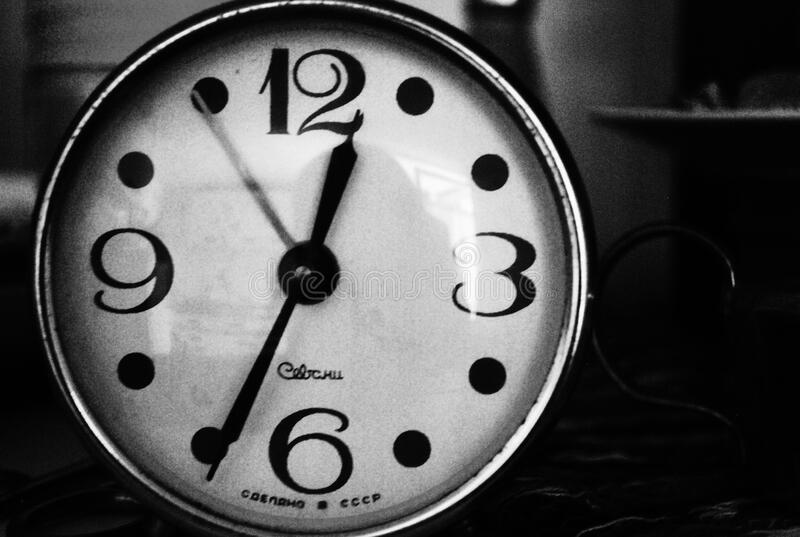 Black and White Vintage Alarm Clock stock photography
