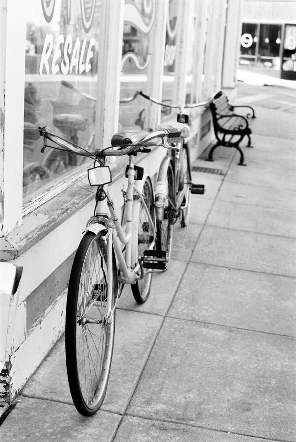 Black and white vintage bikes stock photos