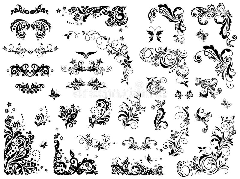 Black and white vintage design elements. Collection of black and white vintage design elements vector illustration