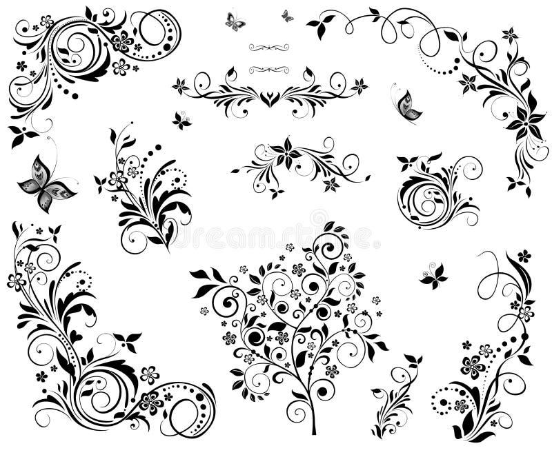 Black and white vintage floral design. Collection of black and white vintage floral design stock illustration