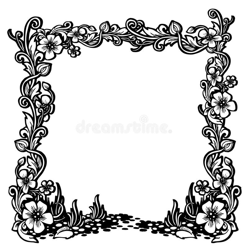 Black And White Vintage Frame With Floral Pattern Stock