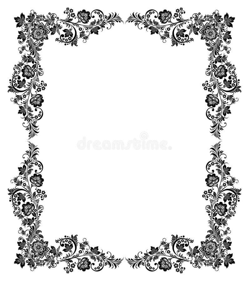 Black and white vintage frame stock vector illustration for Cadre floral mural