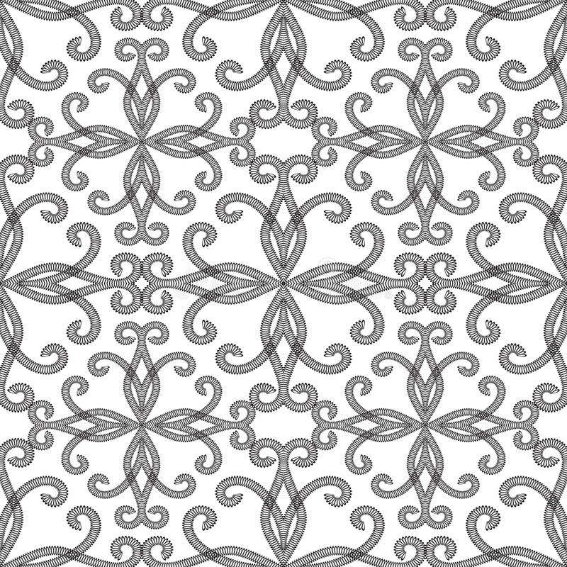 Black and white vintage ornamental seamless pattern. Vector patterned floral abstract background. Hand drawn textured lace flower royalty free illustration