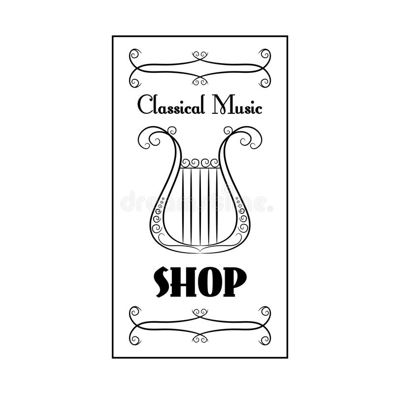Black and white vintage poster classical music shop with the image of a harp on the white background royalty free illustration
