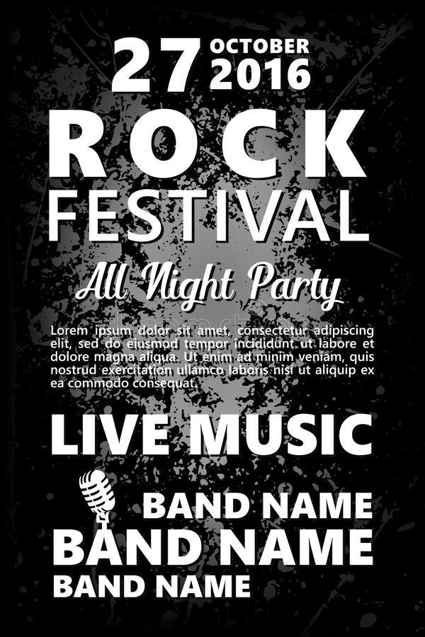 Download black and white vintage rock festival design template with crowd on back and place for