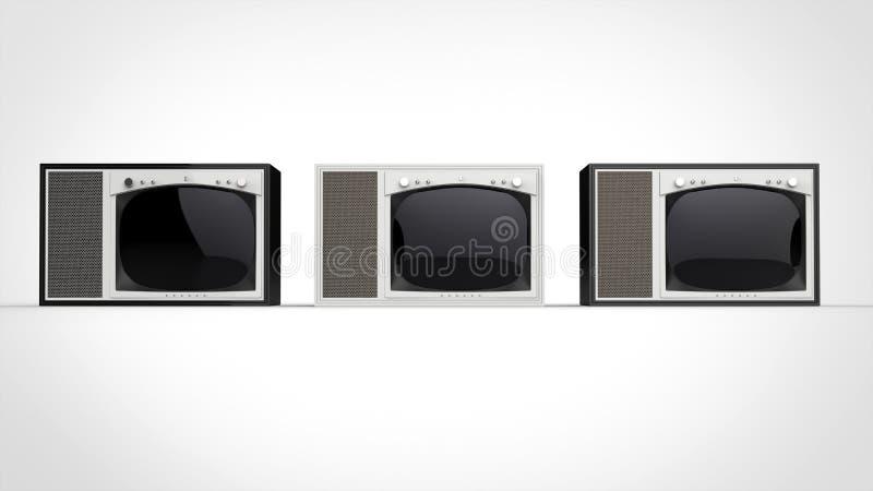 Black and white vintage TV sets - front view stock illustration