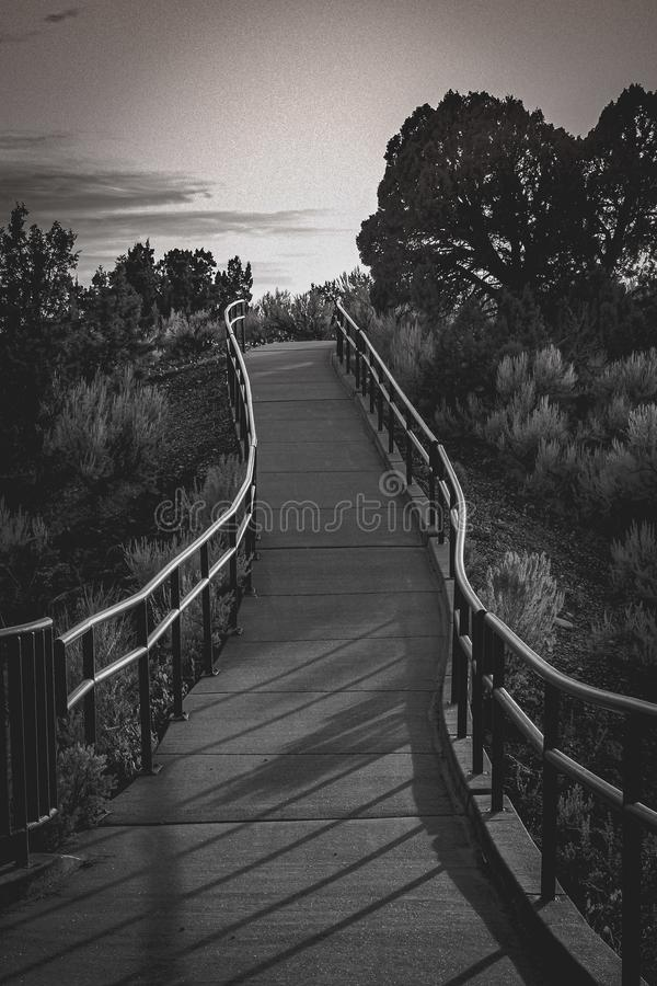 Black and White walking path stock photo