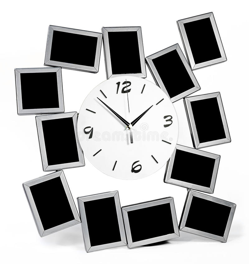 Black and white wall clock with twelve photo frames set stock illustration
