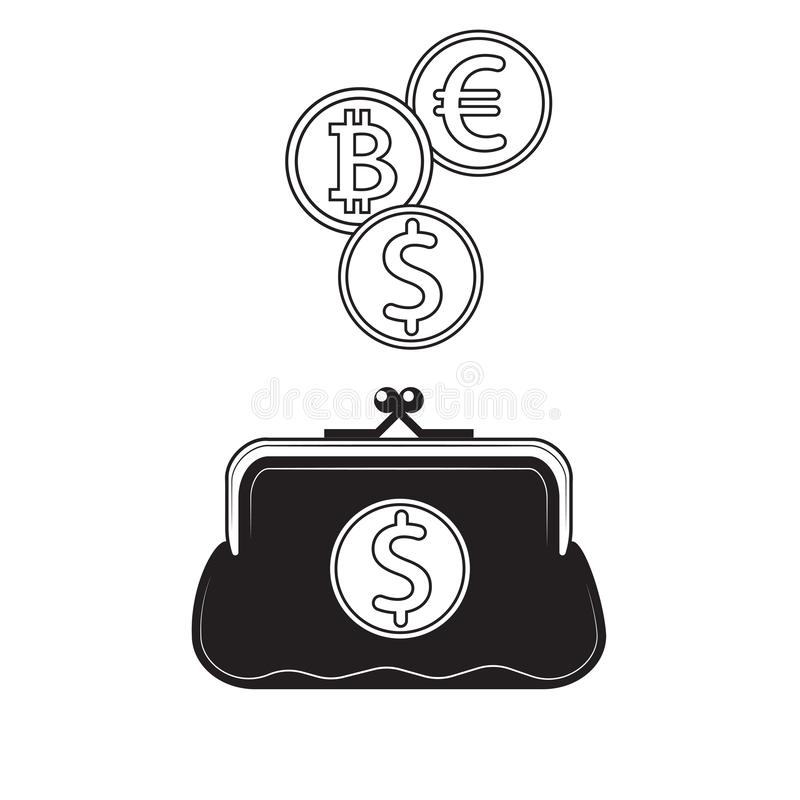 Black and white wallet icon with coins and dollar bitcoin Euro icons. Vector image. Design element stock illustration