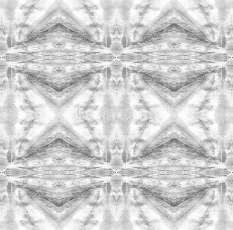 Tie Dye Pattern. Black and White Watercolor hand drawn batik. Summer ink japan illustration. Handmade watercolour shirt tie dye pattern. Aztec kaleidoscope royalty free illustration