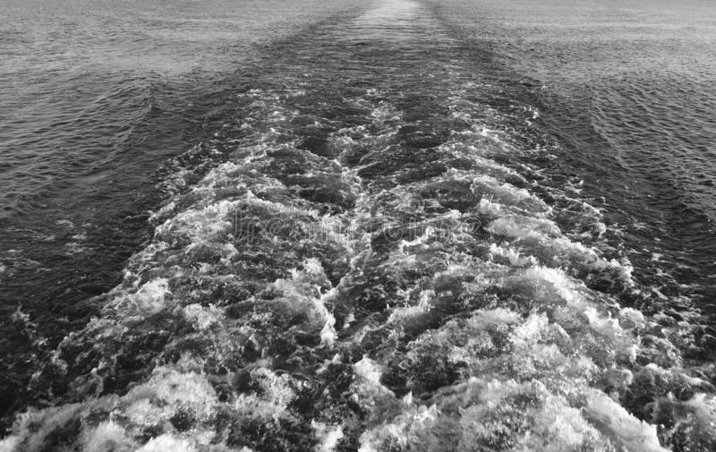 Black and White waves of water. From a ship stock photography