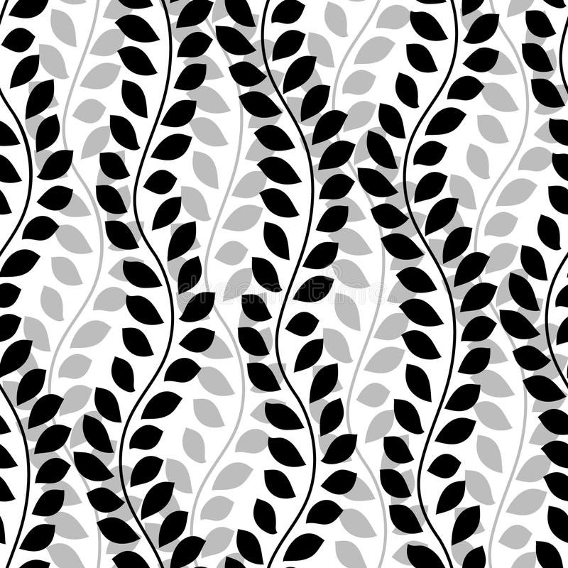 Black and white wavy ivy vines leaves vertical seamless pattern, vector stock illustration