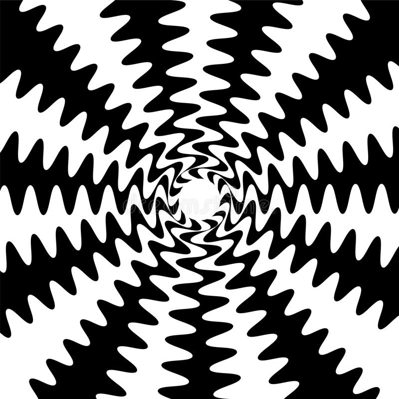 Black and White Wavy Lines Intersect in the Center. Suitable for textile, fabric, packaging and web design. Vector illustration. Black and White Wavy Lines stock illustration