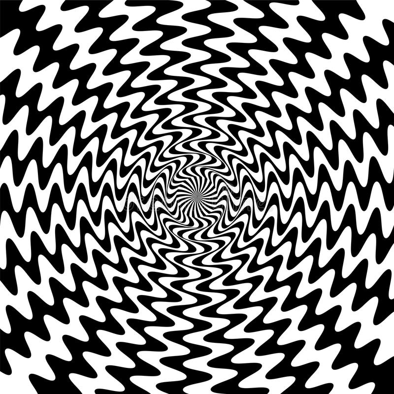 Black and White Wavy Lines Intersect in the Center. The Visual Illusion Of Movement. Suitable for textile, fabric, packaging and. Vector Illustration. Black and stock illustration