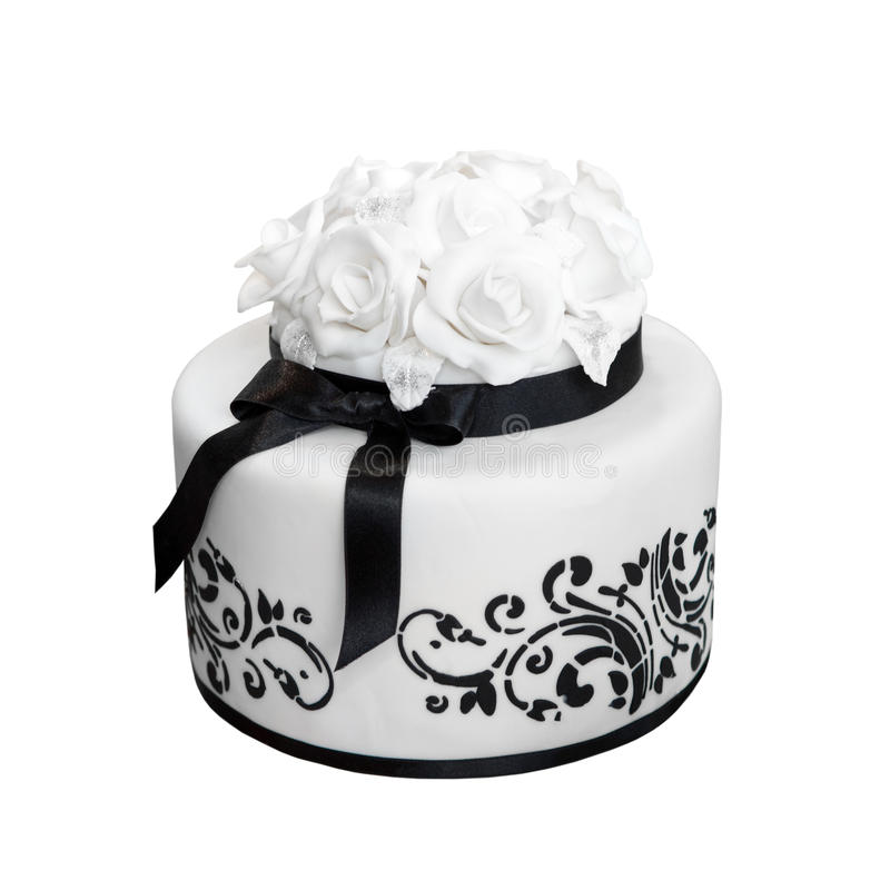Black and white wedding cake royalty free stock photos