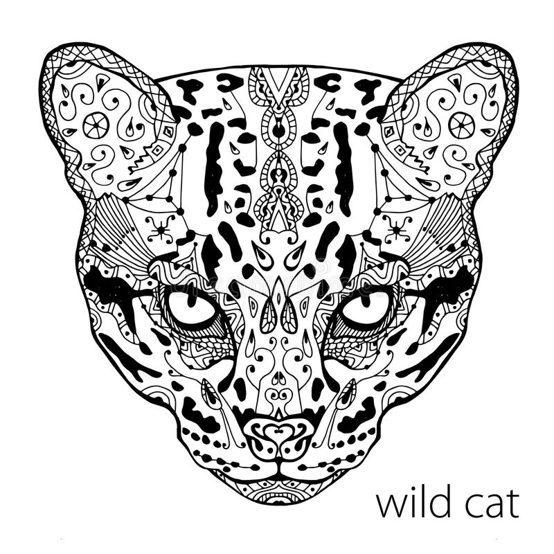 Download The Black And White Wild Cat Print With Ethnic Patterns Coloring Book For Adults