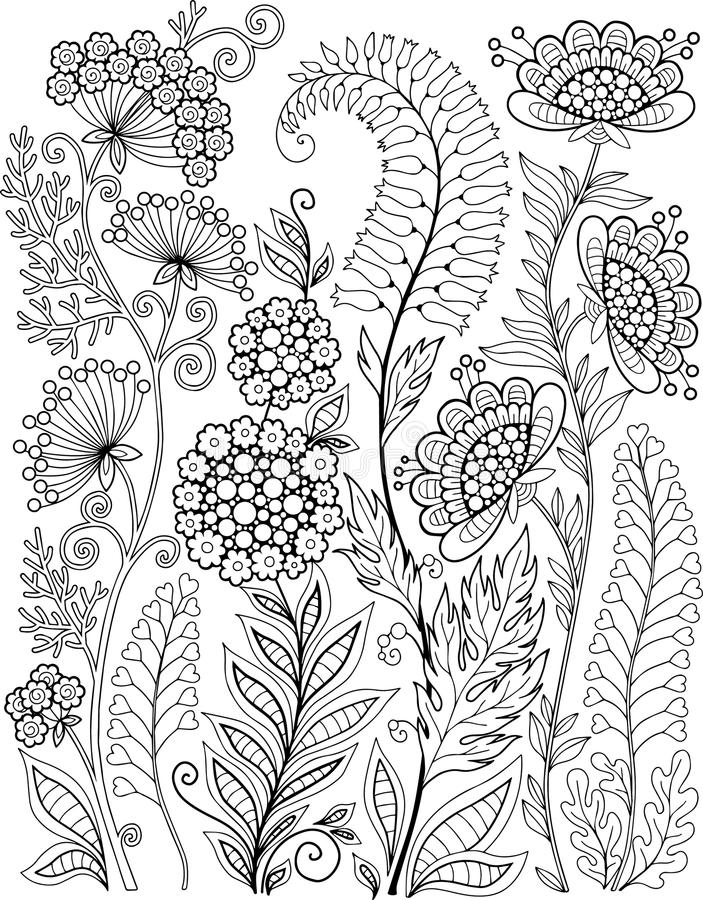Black-and-white Wildflowers isolated on white. Abstract doodle background made of flowers and butterfly. Vector coloring page royalty free illustration