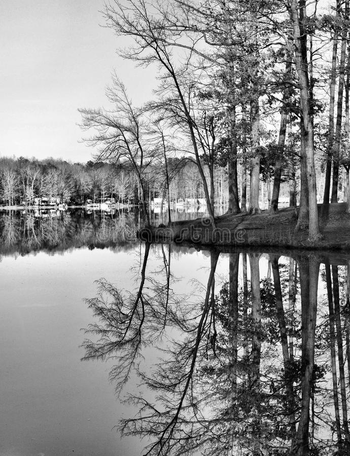 Black and white of winter Reflections. The edge of the land meets the water in a wooded area of the camp and camping. Trees surround the area with reflections of royalty free stock photo