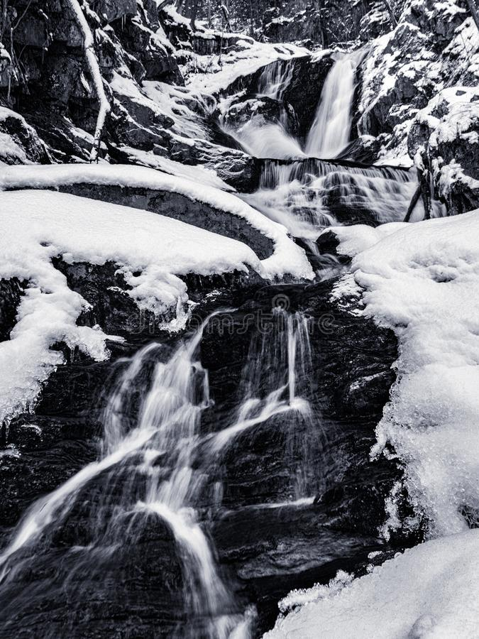 Black and White Winter Water Fall Landscape of Sanderson Brook F stock photography