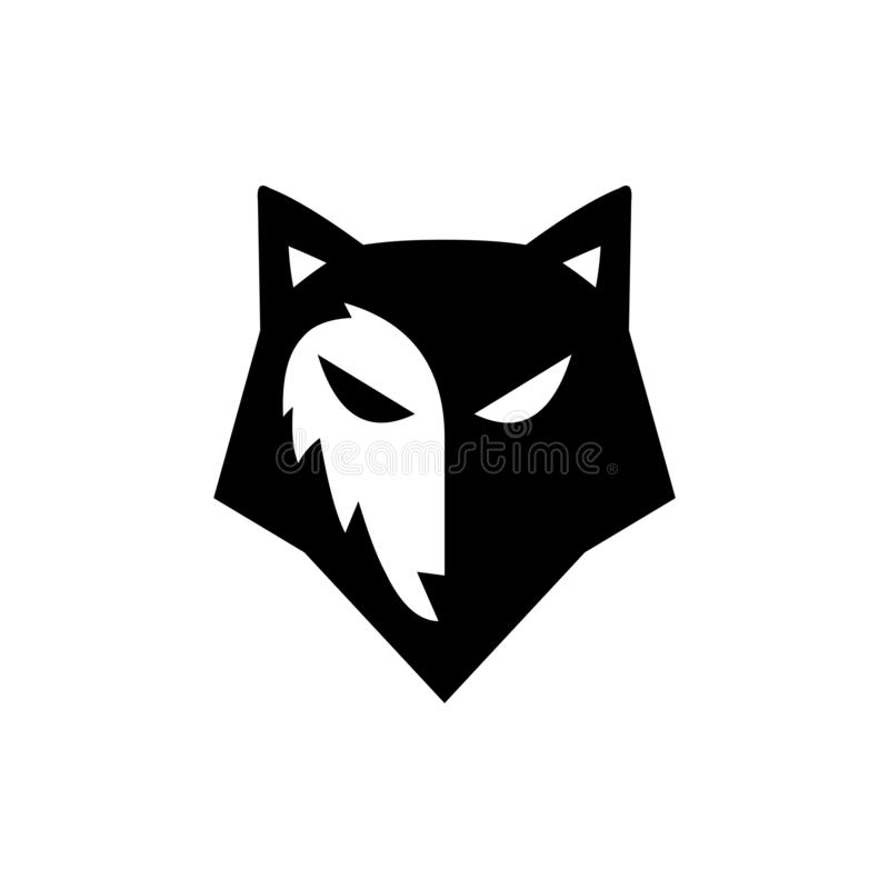 Black and white wolf face silhouette head vector illustration
