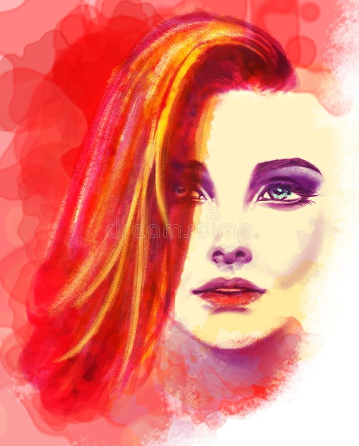 Colorful woman head portrait drawing with watercolors stock illustration