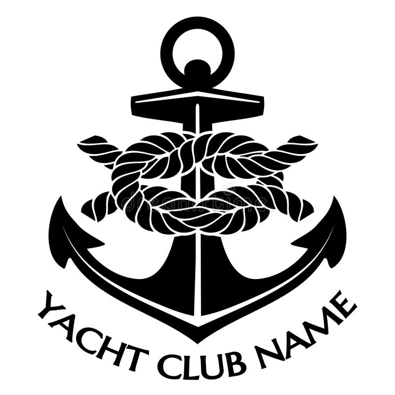 Black and White Yacht Club Logo stock illustration