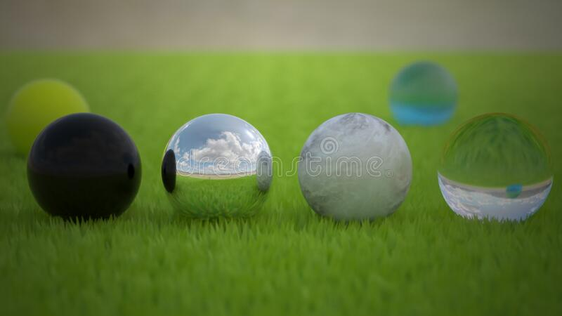 Black White Yellow and Clear Glass Marble Bead royalty free stock photography