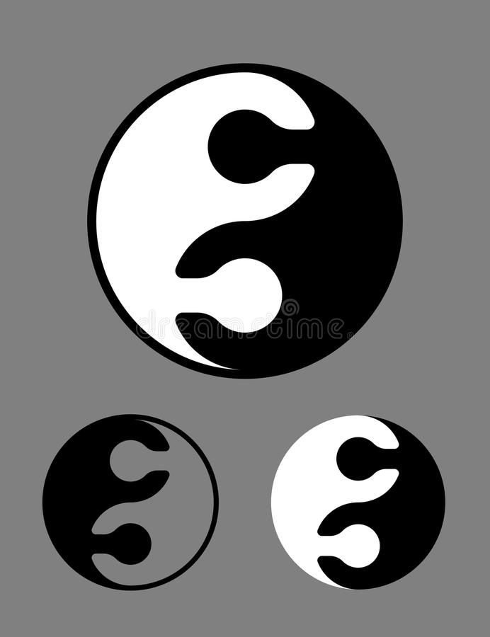 Black And White Yin Yang Symbol Of Puzzle Pieces Stock Vector