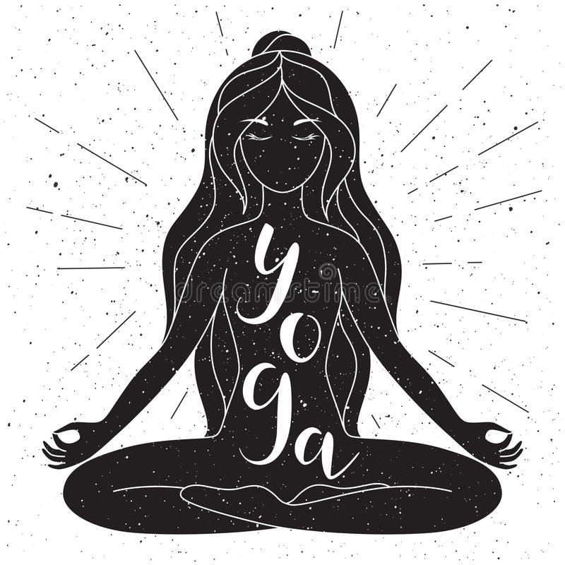 Download black and white yoga poster with lettering vector stock vector illustration of