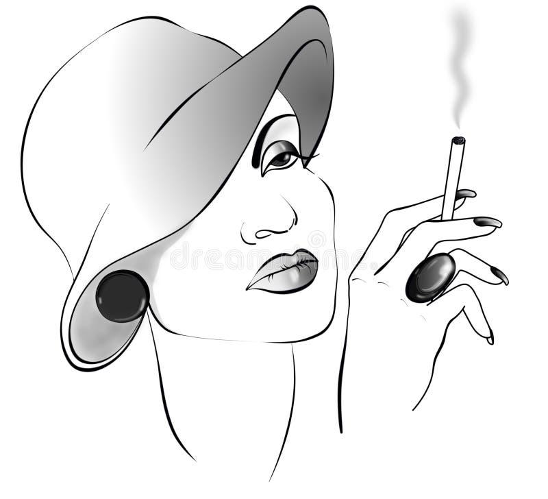 Black&white-Zeichnungsdame mit Zigarette in einem Hut stockbilder